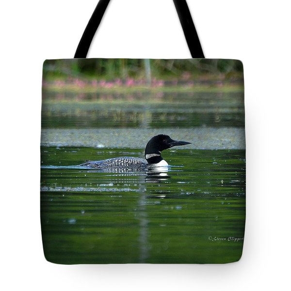 Loon On Indian Lake Tote Bag by Steven Clipperton