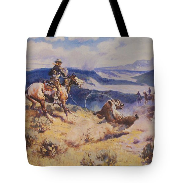 Loops And Swift Horses Are Surer Then Lead Tote Bag by Charles Russell