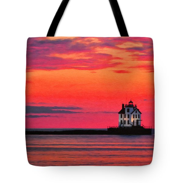 Lorain Lighthouse At Sunset Tote Bag