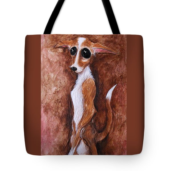 Tote Bag featuring the painting Loretta Chihuahua Big Eyes  by Patricia Lintner