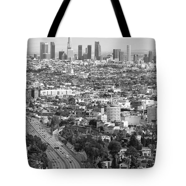 Los Angeles Basin And Los Angeles Skyline Black And White Monochrome Tote Bag