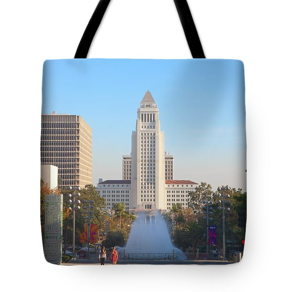 Tote Bag featuring the photograph Los Angeles City Hall by Ram Vasudev