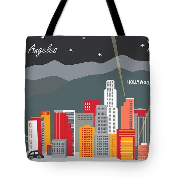 Los Angeles California Horizontal Skyline - Hollywood Hills - Night Tote Bag