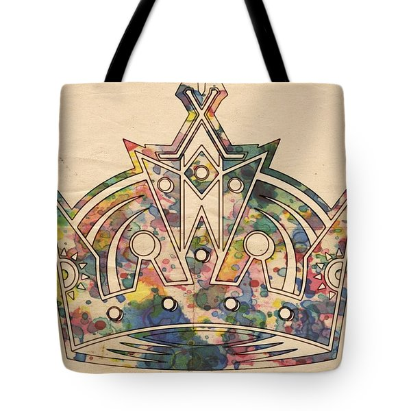 Tote Bag featuring the painting Los Angeles Kings Logo Poster by Florian Rodarte