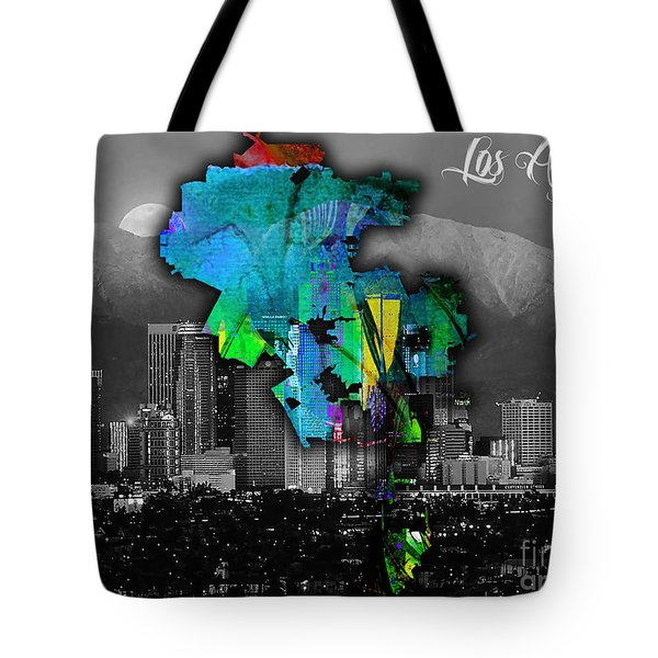 Los Angeles Map And Skyline Watercolor Tote Bag