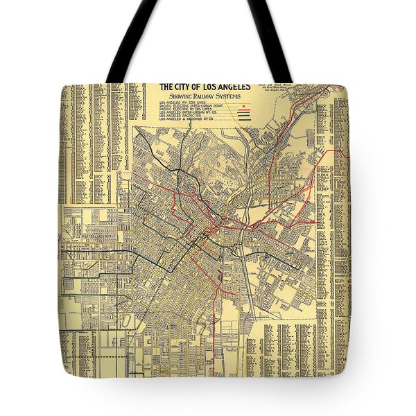 Los Angeles Rail System Map 1906 Tote Bag