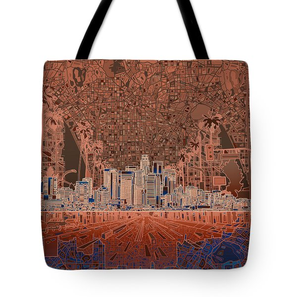 Los Angeles Skyline Abstract 7 Tote Bag