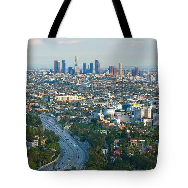 Los Angeles Skyline And Los Angeles Basin Panorama Tote Bag