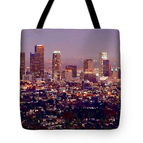 Los Angeles Skyline At Dusk Tote Bag