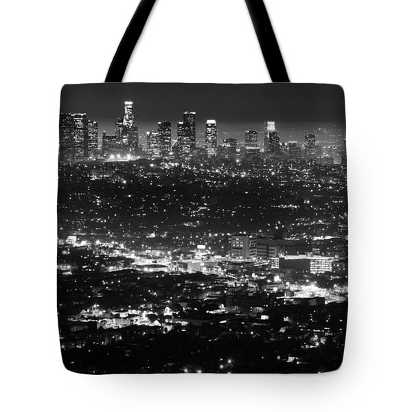 Los Angeles Skyline At Night Monochrome Tote Bag by Bob Christopher