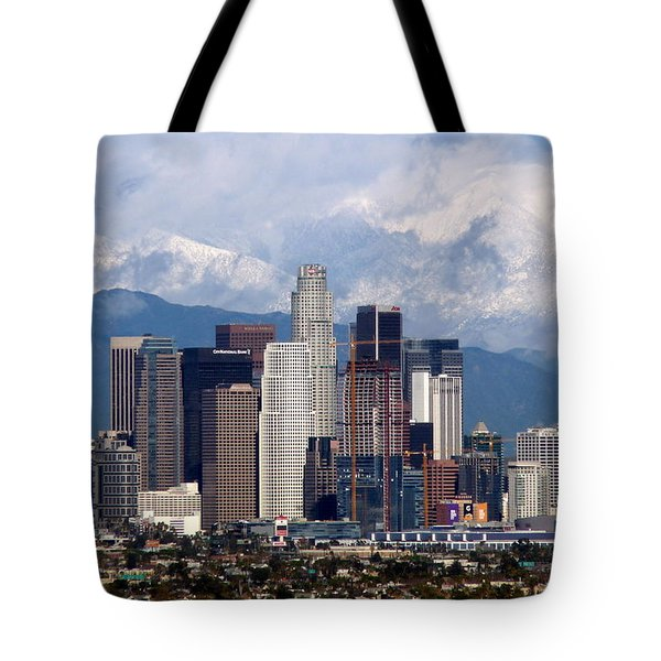 Los Angeles Skyline With Snowy Mountains Tote Bag