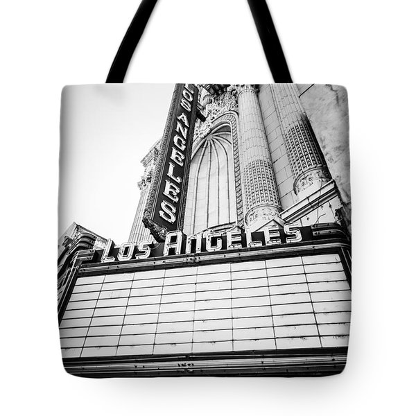 Los Angeles Theatre Sign In Black And White Tote Bag by Paul Velgos