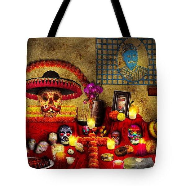 Los Dios Muertos - Rembering Loved Ones Tote Bag by Mike Savad