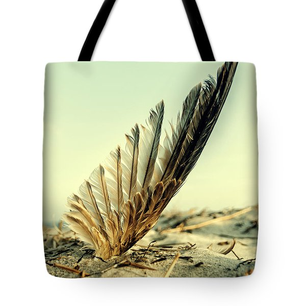 Lost Feather At The Beach Tote Bag