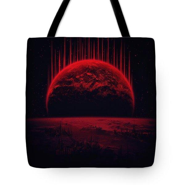Lost Home Colosal Future Sci Fi Deep Space Scene In Diabolic Red Tote Bag