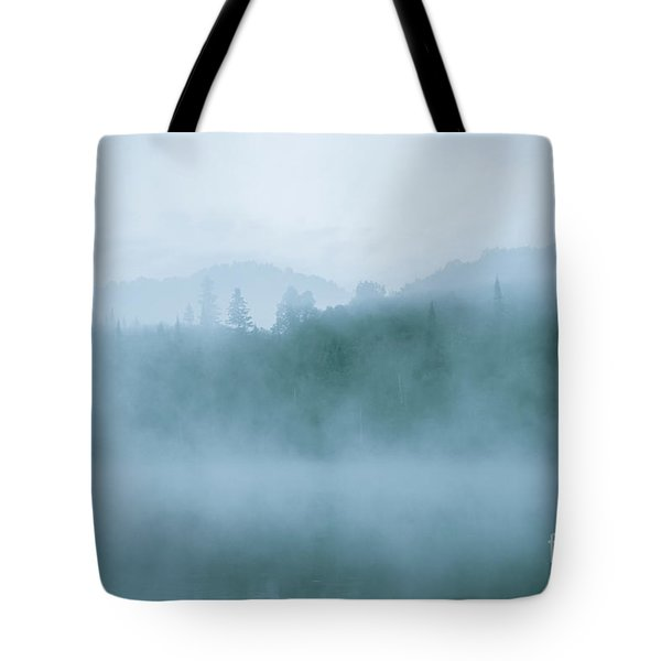 Lost In Fog Over Lake Tote Bag