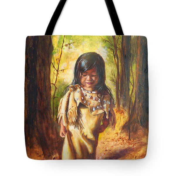 Tote Bag featuring the painting Lost In The Woods by Karen Kennedy Chatham