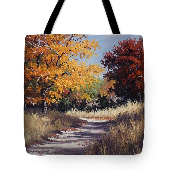 Tote Bag featuring the painting Lost Maples Trail by Kyle Wood