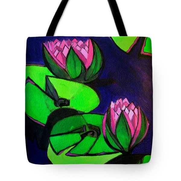 Lotus 2 Botanical Flowers Tote Bag
