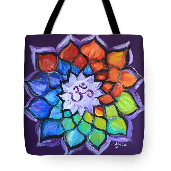 Tote Bag featuring the painting Lotus Flower by Agata Lindquist