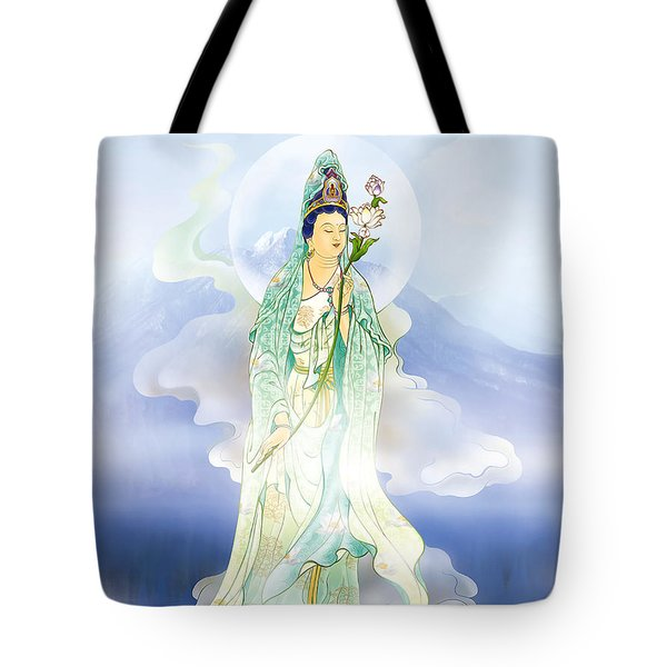 Tote Bag featuring the photograph Lotus-holding Kuan Yin by Lanjee Chee