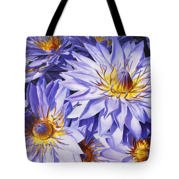 Lotus Light - Hawaiian Tropical Floral Tote Bag by Karen Whitworth