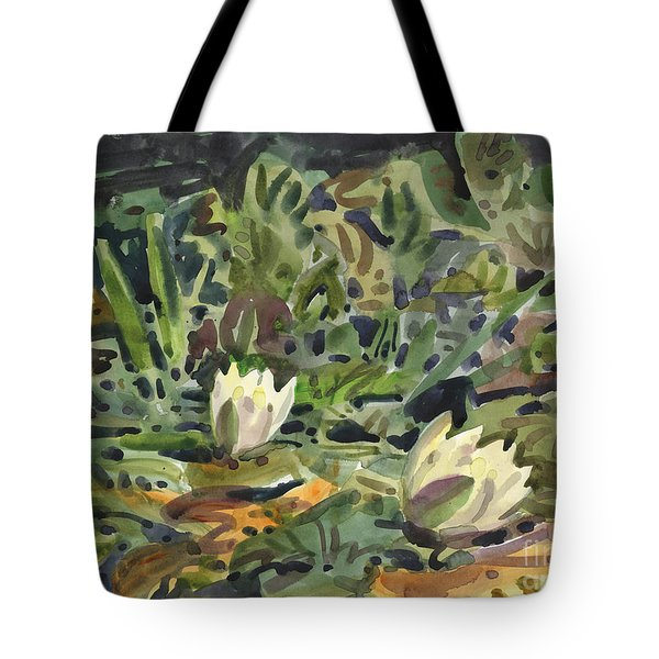 Tote Bag featuring the painting Lotus Pond by Donald Maier
