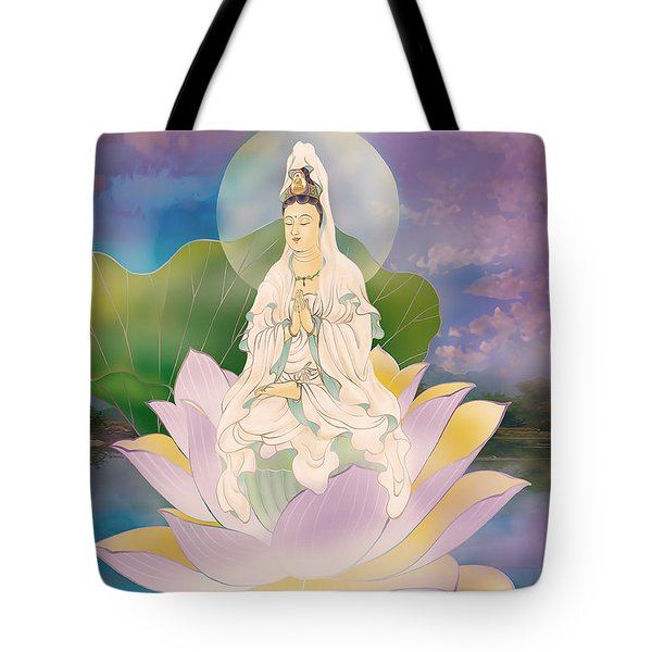 Lotus-sitting Avalokitesvara  Tote Bag by Lanjee Chee