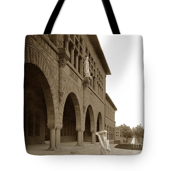 Louis Agassiz In The Concrete Most Famous Image Associated With Stanford University 1906 Earthquake Tote Bag by California Views Mr Pat Hathaway Archives