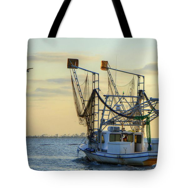 Louisiana Shrimping Tote Bag by Charlotte Schafer