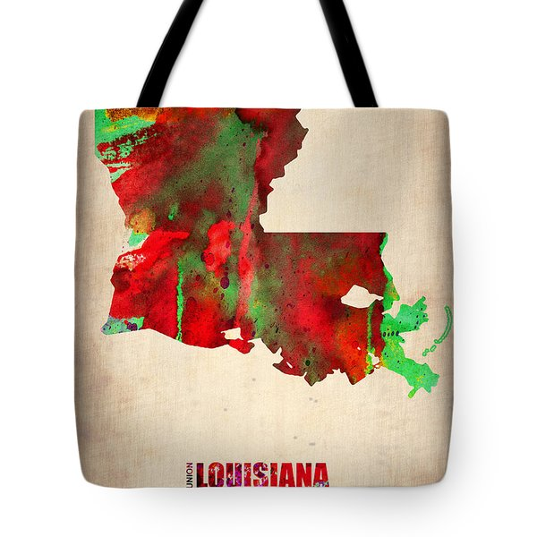 Louisiana Watercolor Map Tote Bag