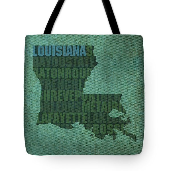 Louisiana Word Art State Map On Canvas Tote Bag