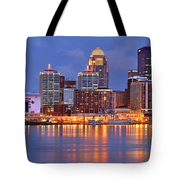 Louisville Skyline At Dusk Sunset Panorama Kentucky Tote Bag