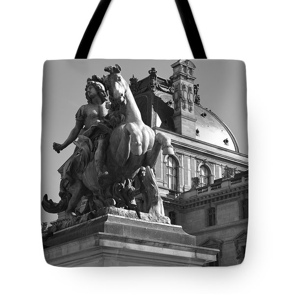 Louvre Man On Horse Tote Bag by Cheryl Miller