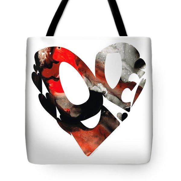 Love 18- Heart Hearts Romantic Art Tote Bag by Sharon Cummings