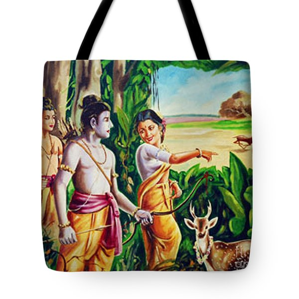 Tote Bag featuring the painting Love And Valour- Ramayana- The Divine Saga by Ragunath Venkatraman