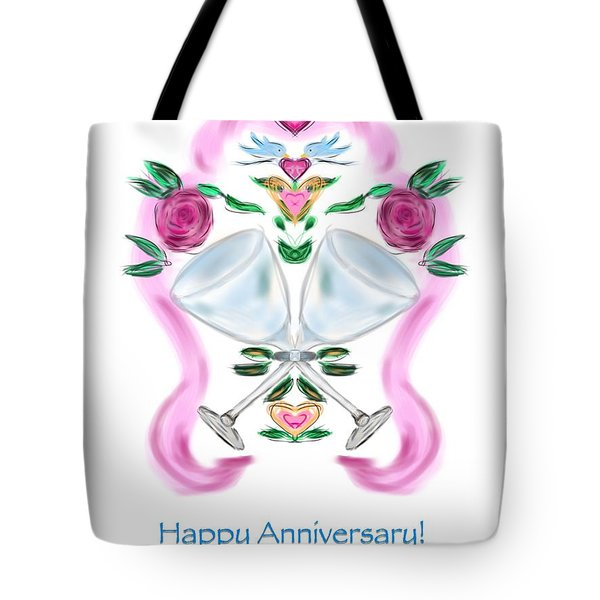 Tote Bag featuring the digital art Love Birds Anniversary by Christine Fournier