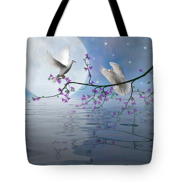 Love Birds By The Light Of The Moon-2 Tote Bag