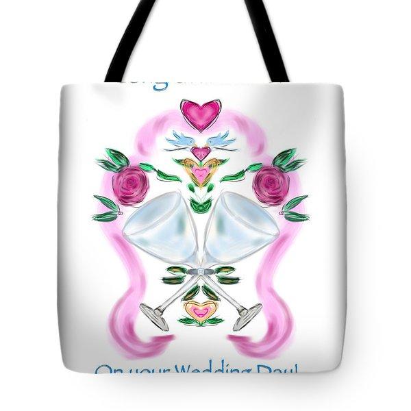 Tote Bag featuring the digital art Love Birds White Wedding by Christine Fournier