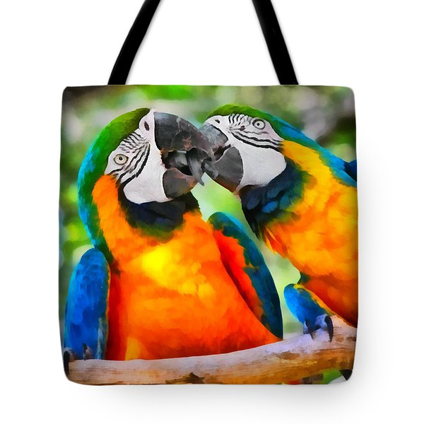 Love Bites - Parrots In Silver Springs Tote Bag by Christine Till
