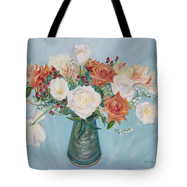 Love Bouquet In White And Orange Tote Bag