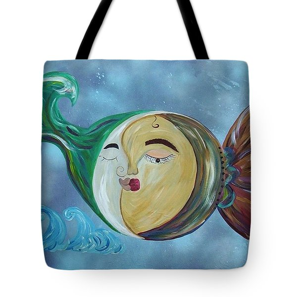 Tote Bag featuring the painting Love Connect - You Are My Moon And Sun by Eloise Schneider