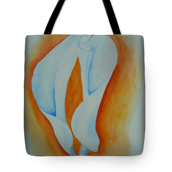 Tote Bag featuring the painting Calla Lilies by Geeta Biswas