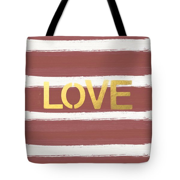Love In Gold And Marsala Tote Bag by Linda Woods