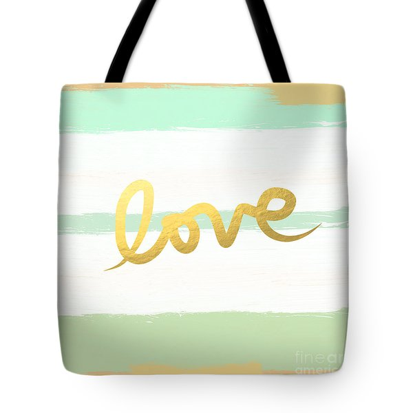 Love In Mint And Gold Tote Bag