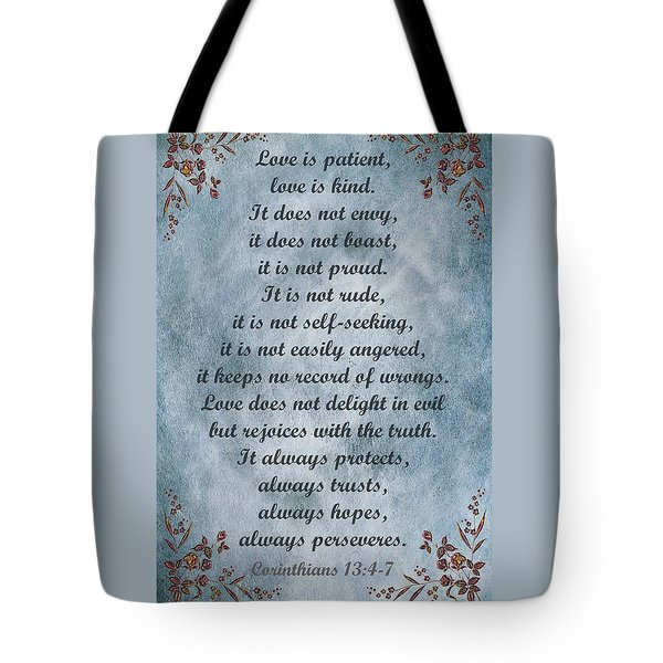 Love Is Patient Clouds Gold Leaf Tote Bag by David Dehner