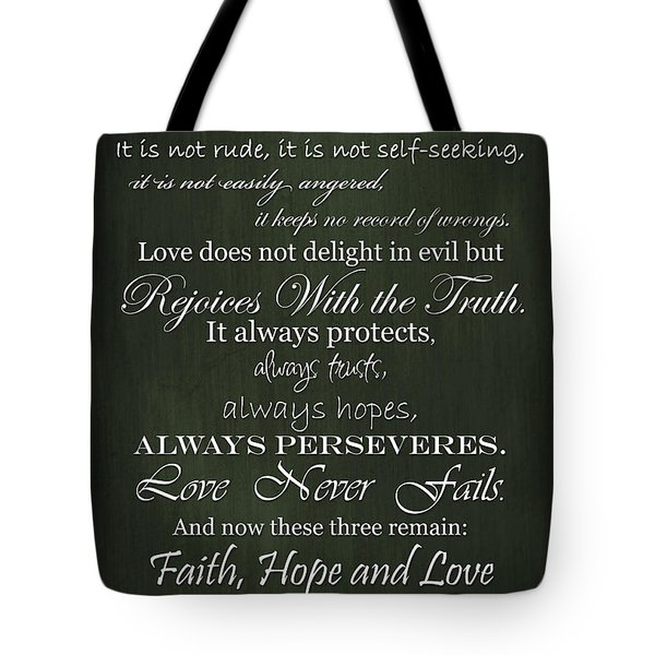Love Is Patient Green Tote Bag