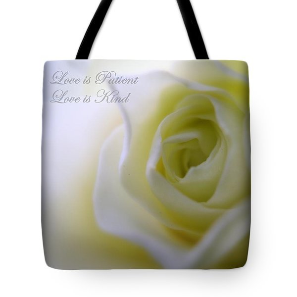 Love Is Patient Tote Bag by Patti Whitten