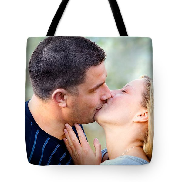 Love Kissing Couple Tote Bag by Michal Bednarek