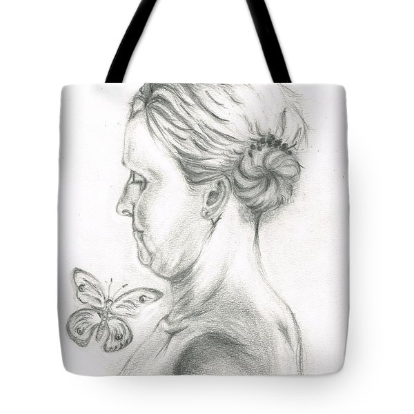 Tote Bag featuring the drawing Loves- Her Butterflies by Teresa White